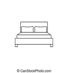 appartamento, illustrazione, letto matrimoniale, vettore, icon., design.