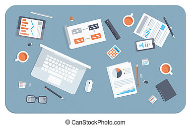 appartamento, illustrazione, riunione, affari