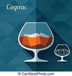 appartamento, illustrazione, vetro, cognac, disegno, style.