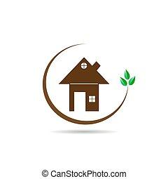 appartamento, immagine, casa, foglie, verde, ramo, logotipo