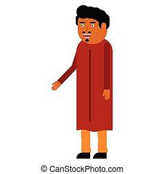 appartamento, indiano, uomo, icona