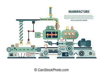 appartamento, industriale, astratto, illustrazione, macchina, vettore, style.