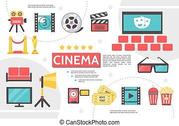 appartamento, infographic, sagoma, cinematografia