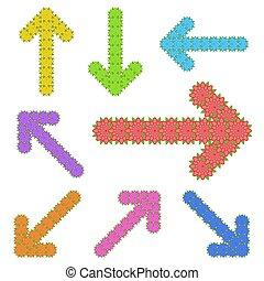appartamento, insolito, set, forma, fondo., colorare, frecce, isolato, illustrazione, semplice, flowers., vettore, bianco, luminoso
