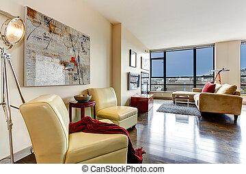 appartamento, interior., moderno