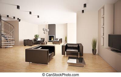 appartamento, interno, 3d