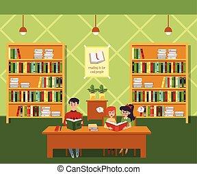 appartamento, interno, fondo, bambini, biblioteca, scaffali, illustration.