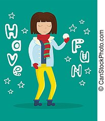 appartamento, inverno, lei, illustrazione, palla neve, vettore, ragazza, lettering., hands., vestiti