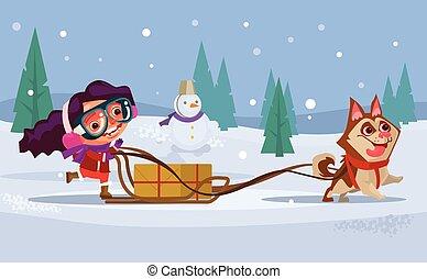 appartamento, inverno, ragazza, concept., carattere, cane, illustrazione, sentiero per cavalcate, vettore, sled., bambino, rauco, sorridente, vacanza, cartone animato, felice