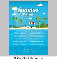 appartamento, isola, viaggiare, illustrazione, oceano, tropicale, fondo., palma, ocean., alberi., paesaggio