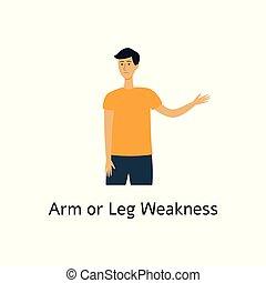 appartamento, isolated., debolezza, braccia, illustrazione, colpo, vettore, gambe, sintomo