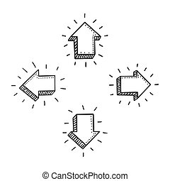 appartamento, isolated., scarabocchiare, simbolo., illustrazione, mano, decorazione, fondo., vettore, freccia, 3d, disegnato, icon., segno, bianco, element., design.