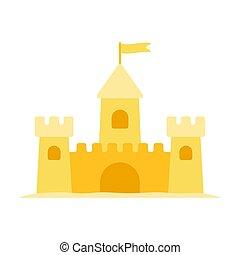 appartamento, isolato, sabbia, vettore, castello, bianco, icona