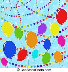 appartamento, isolato, set, colorato, ropes., contro, variopinto, fondo, confetti., garlands, suitable, palloni, design.