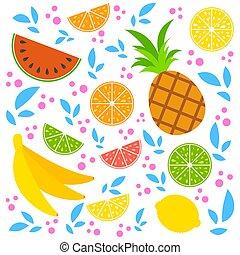 appartamento, isolato, set, illustration., fondo., semplice, limone, colorato, pompelmo, cibo., tropicale, arancia, luminoso, vettore, delizioso, frutte, calce, bianco, ananas, banana, watermelon.