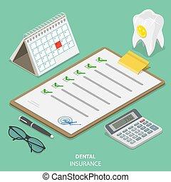 appartamento, isometrico, concept., assicurazione, vettore, dentale