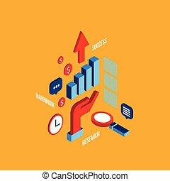 appartamento, isometrico, concetto, successo, affari, riuscito, idea, ricerca, hardwork, processo, disegno, 3d