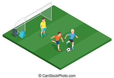 appartamento, isometrico, illustration., bambini, vettore, outdoors., calcio, gioco, 3d