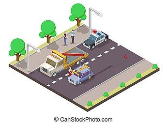 appartamento, isometrico, incidente, automobile, illustrazione, vettore