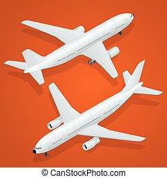 appartamento, isometrico, passeggero, -, alto, aereo, aeroplano, qualità, icon., trasporto, 3d