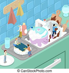 appartamento, isometrico, piatti lavaggio, persone, kitchen., miniatura, vettore, illustrazione, 3d