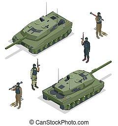 appartamento, isometrico, serbatoio, illustration., transport., veicoli, alto, americano, vettore, soldiers., macchinario, militare, qualità, 3d