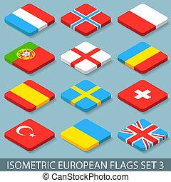 appartamento, isometrico, set, 3, bandiere, europeo