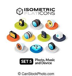 appartamento, isometrico, set, 5, icone