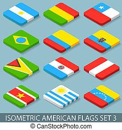 appartamento, isometrico, set, americano, 3, bandiere