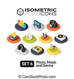 appartamento, isometrico, set, icone, 6