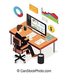 appartamento, isometrico, statistica, finanziario, affari, intelligente, concept., dashboard., analizzare, uomo affari, tecnologia, 3d