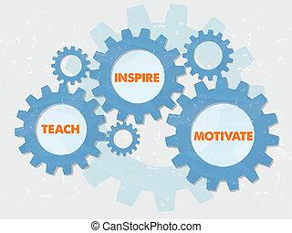 appartamento, ispirare, grunge, motivare, disegno, ingranaggi, insegnare