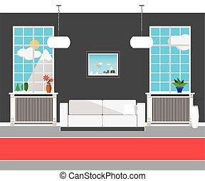 appartamento, istituto, moderno, disegno, interno, salone