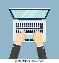 appartamento, laptop, illustrazione, vettore, mani, design.