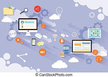 appartamento, laptop, mandare, computer, disegno, congegno, posta, nuvola