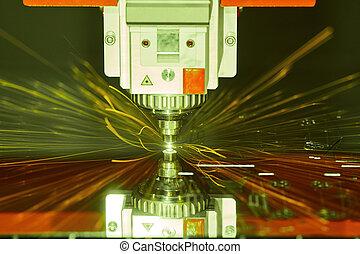 appartamento, laser, plasma, taglio, foglio, tecnologia, o, metal.