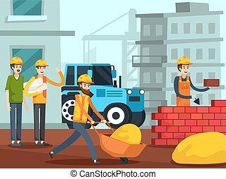 appartamento, lavorante, costruzione, caratteri, manifesto