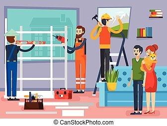 appartamento, lavorante, costruzione, composizione, manifesto