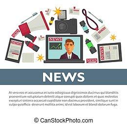appartamento, lavorativo, reporter, tv, manifesto, professione, vettore, disegno, giornalista, articoli, notizie