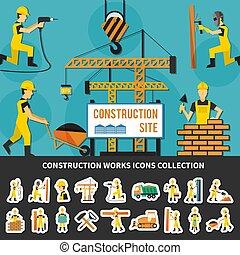 appartamento, lavoratore costruzione, composizione