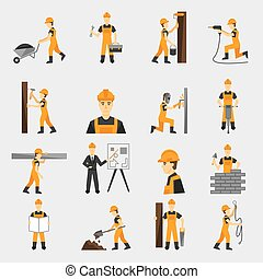 appartamento, lavoratore costruzione, icone