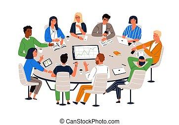 appartamento, lavoro, gruppo, discussion., ufficio, trattativa, discutere, lavorante, seduta, illustrazione, cartone animato, affari, idee, vettore, riunione, conferenza, scambiare, tavola, information., style., rotondo