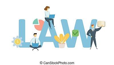 appartamento, law., concetto, illustration., lettere, icons., isolato, fondo., vettore, keywords, bianco