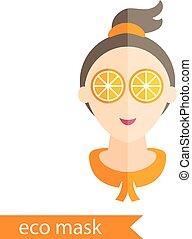 appartamento, lei, maschera, illustrazione, vettore, disegno, arancia, eyes., ragazza