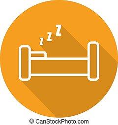 appartamento, letto, uggia, icona, lungo, lineare