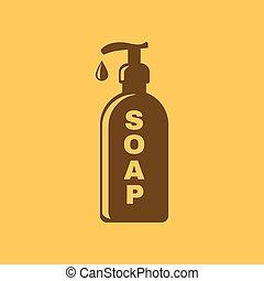appartamento, liquido, simbolo., lavata mano, icon., sapone