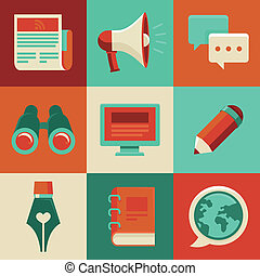 appartamento, logos, icone, -, scrittura, vettore, blogging