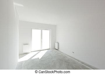 appartamento, luce, arrangement., finestra, interno, nuovo, vuoto