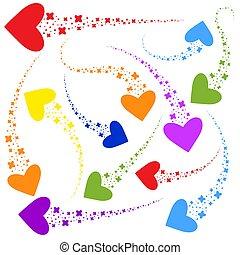 appartamento, luminoso, set, heart., colorito, semplice, astratto, isolato, illustrazione, silhouette., fondo., forma, vettore, flussi, stelle, bianco