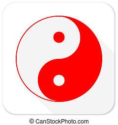 appartamento, lungo, yang, fondo, uggia, ying, bianco rosso, icona